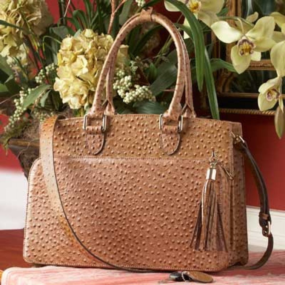 c00d5717c9f1 Concealed Carrie Ostrich Print Leather Computer Carry All