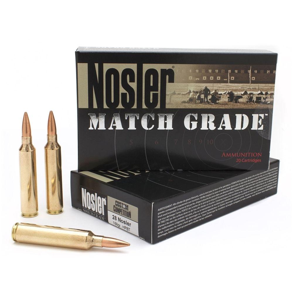Nosler Match Grade 28 Nosler 168 Grain HPBT 20 Round Box