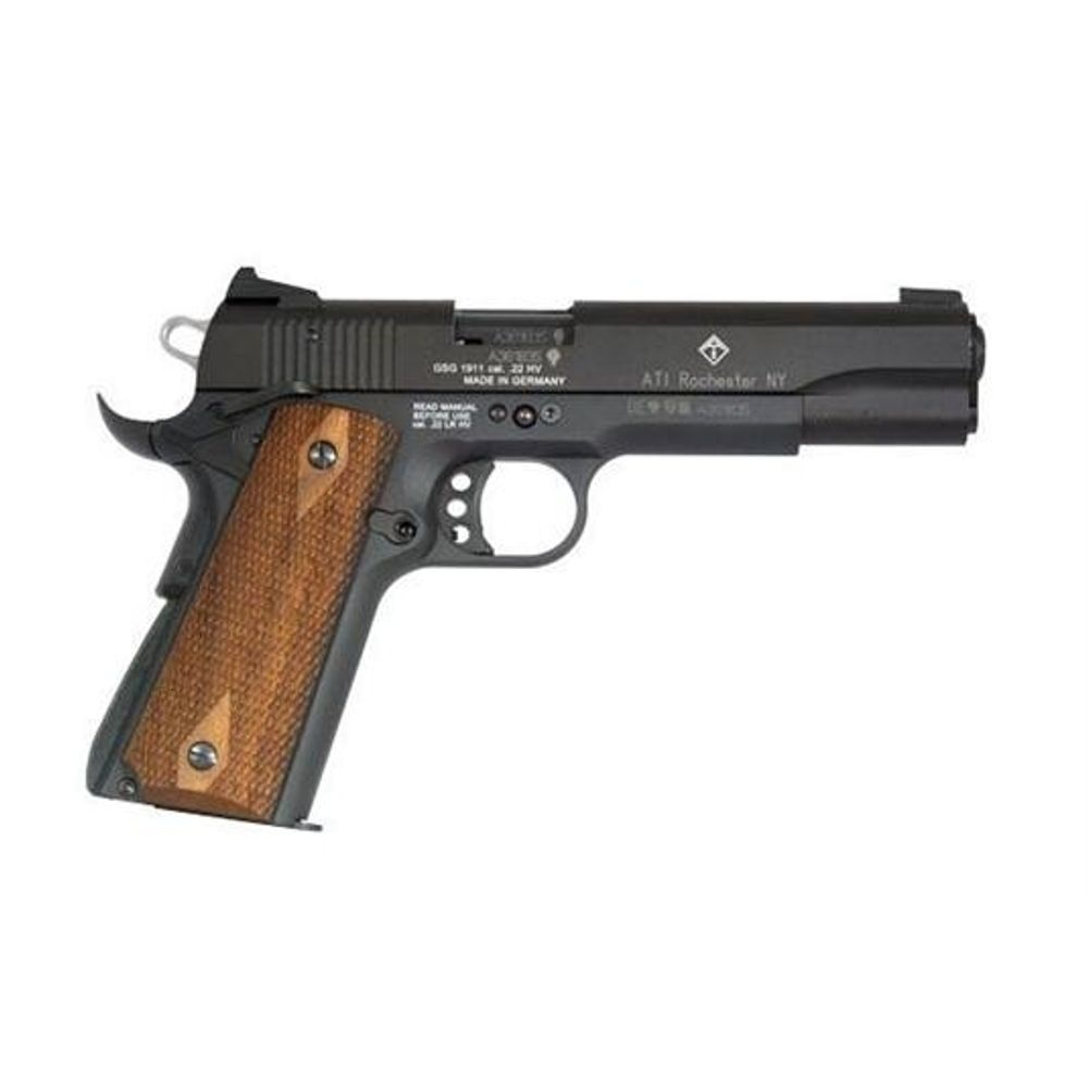 valtava myynti virallinen kuuma myynti American Tactical Imports GSG Model 1911 .22 Long Rifle High Velocity 5  Inch Barrel Black Finish Wood Grip 10 Round - GERG2210M1911