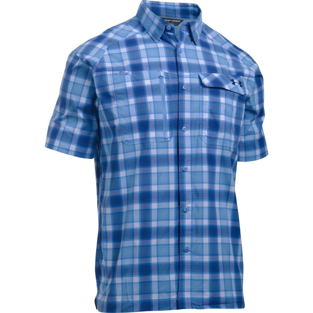 3169fe02c7 Under Armour Men's Fish Hunter Plaid Short Sleeve Shirt 1290745-475 ...