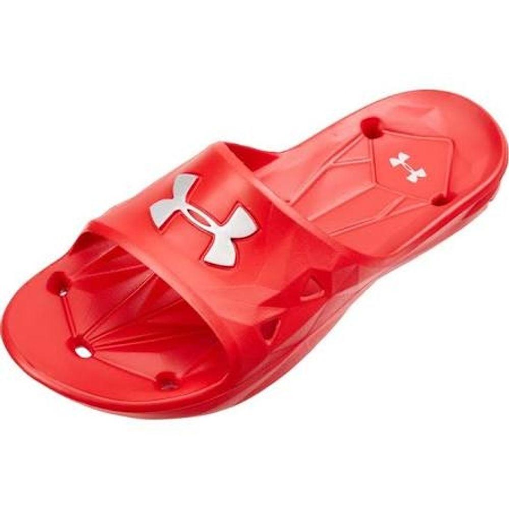 435dee83602 Under Armour Men s Locker III Slide Sandal - Red Metallic Silver.  1287325-600-2