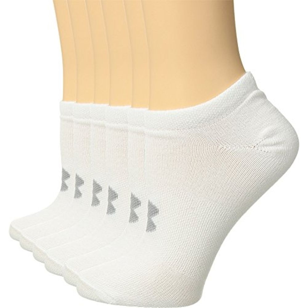 5f5a8ab75f96d Under Armour Women's Essential No Show Socks (6 Pack), White  (1259396-102)/Anthracite/White, Medium. 1259396-102-2