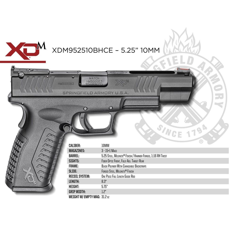 Springfield Armory XDM 10mm 5 25 Full-Size Black Pistol - XDM952510BHCE