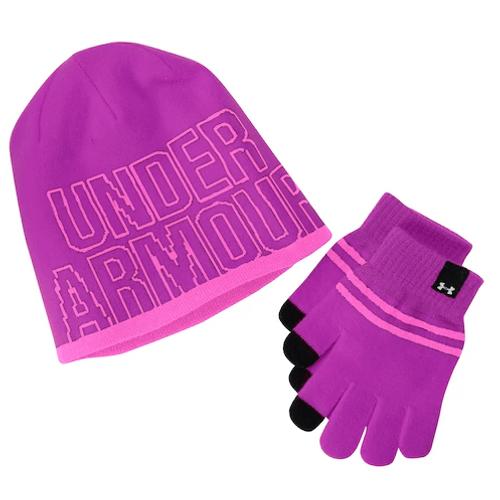 0e22320296b Girls 4-16 Under Armour Logo Knit Hat   Gloves Set - DEGuns