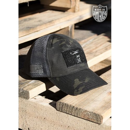 1ca5efb6d610b 9 Line Dark American Made Mesh Back Hat With Drop Line - Grey - DEGuns