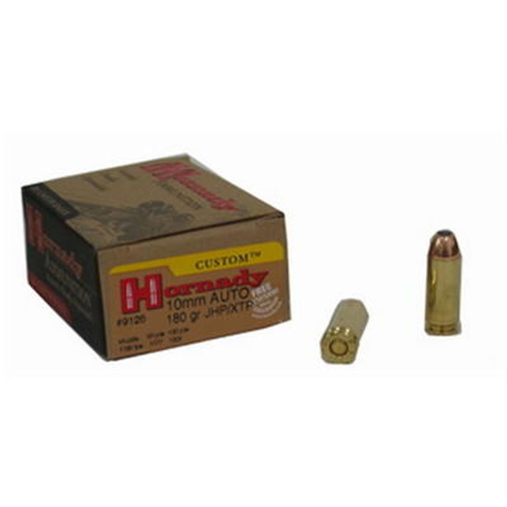 Hornady 9126 Custom 10mm Auto 180 Grain HP XTP Defensive Ammunition 20  Round Box